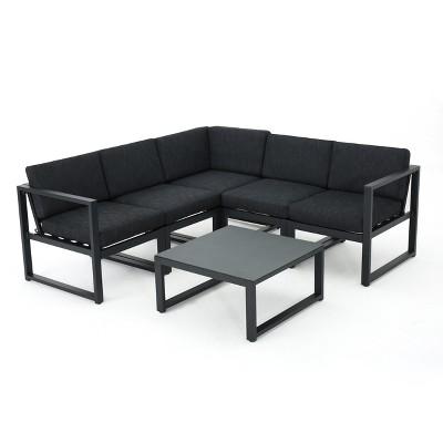Navan 6pc Aluminum V-Shaped Sofa Set  - Dark Grey - Christopher Knight Home