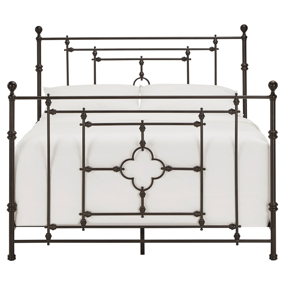 Kingsdale Quatrefoil Detail Metal Bed - Queen - Dark Brown - Inspire Q, Dark Chestnut
