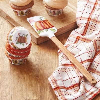 Lakeside Harvest Season Pumpkin Image Spatula with 24 Cup Cake Liners
