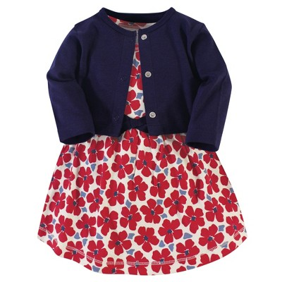 Touched by Nature Baby and Toddler Girl Organic Cotton Dress and Cardigan 2pc Set, Red Flowers
