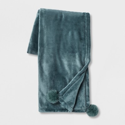 Solid Plush With Faux Fur Poms Throw Blanket Teal - Opalhouse™