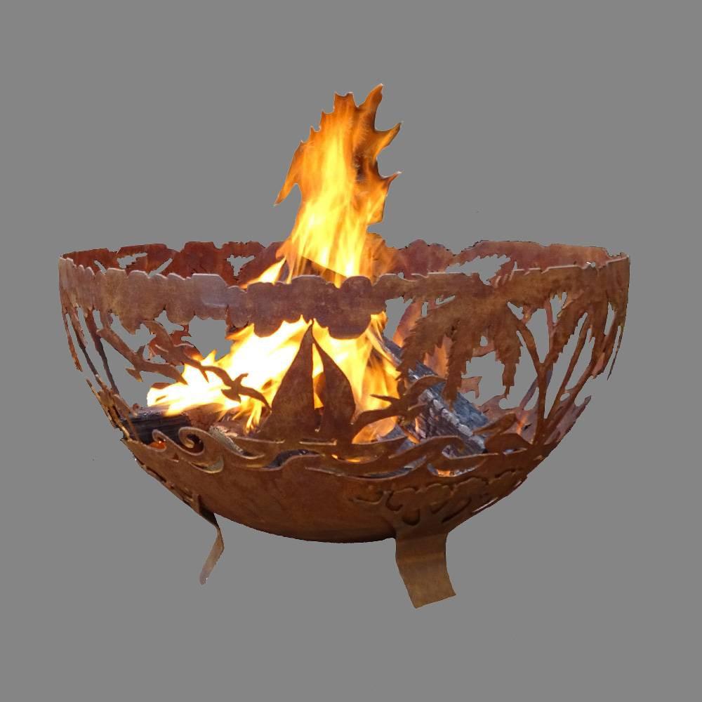 Extra Large Laser Cut Tropical Fire Bowl Bronze - Esschert Design