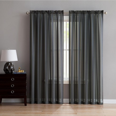 VCNY Home Stefan Satin Striped Sheer Curtain Panel - image 1 of 3
