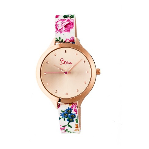 Women's Boum Bijou Watch with Floral Patterned Genuine Leather Strap - Rose Gold - image 1 of 3