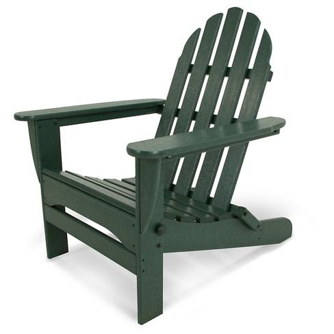 Polywood 174 Classic Folding Patio Adirondack Chair Green