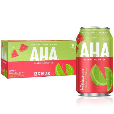 AHA Lime + Watermelon Sparkling Water - 8pk/12 fl oz Cans