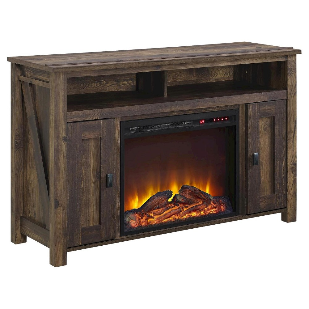 Farmington Electric Fireplace TV Console for TVs up to 50 - Dark Rustic Pine - Altra, Dark Pine