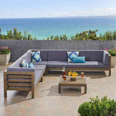 Oana 6pc Acacia Wood Sectional Sofa Set Gray/Dark Gray - Christopher Knight Home
