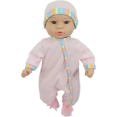 """14"""" Sweet and Happy Baby - Pink with Stripes Pajamas"""