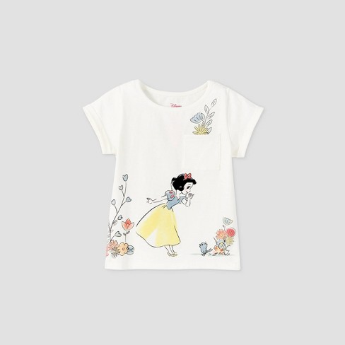 Toddler Girls' Snow White Short Sleeve Pocket T-Shirt - Cream - image 1 of 2