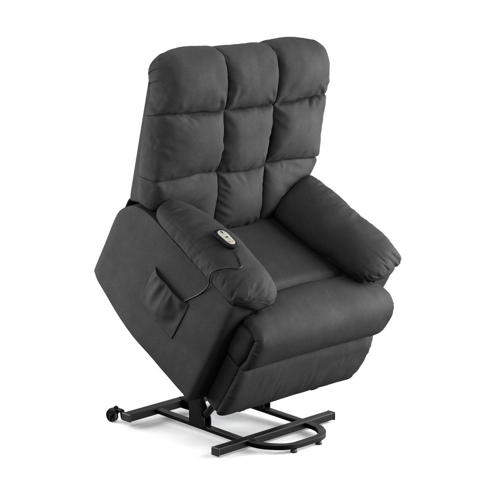Image of Prolounger Microfiber Power Recline and Lift Wall Hugger Chair Gray - Handy Living