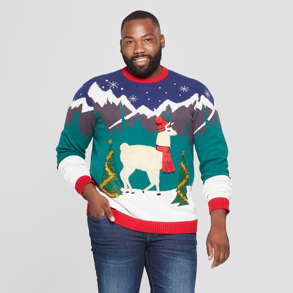 33 Degrees Men's Big & Tall Ugly Holiday Christmas Fringe Llama Long Sleeve Pullover Sweater - Red 5XBT