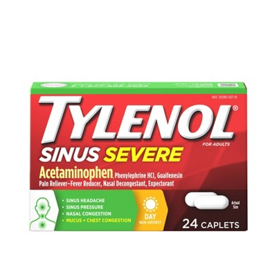 Tylenol Sinus Severe Non-Drowsy Pain & Congestion Relief Caplets - Acetaminophen - 24ct
