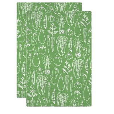 2pk Jacquard Insalata Print Kitchen Towel Green - MU Kitchen