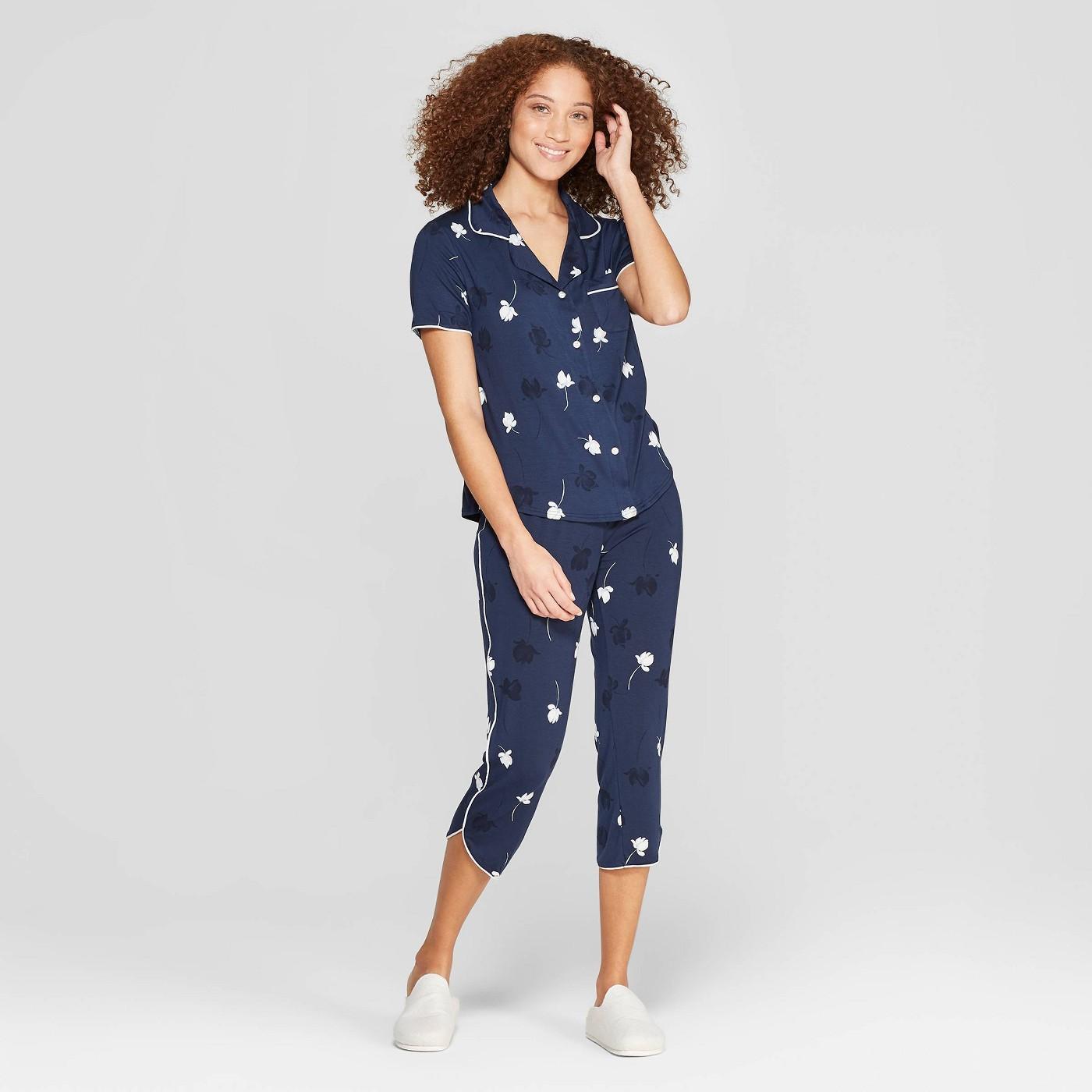 Women's Floral Print Beautifully Soft Crop Notch Collar Pajama Set - Stars Above™ Blue - image 1 of 2