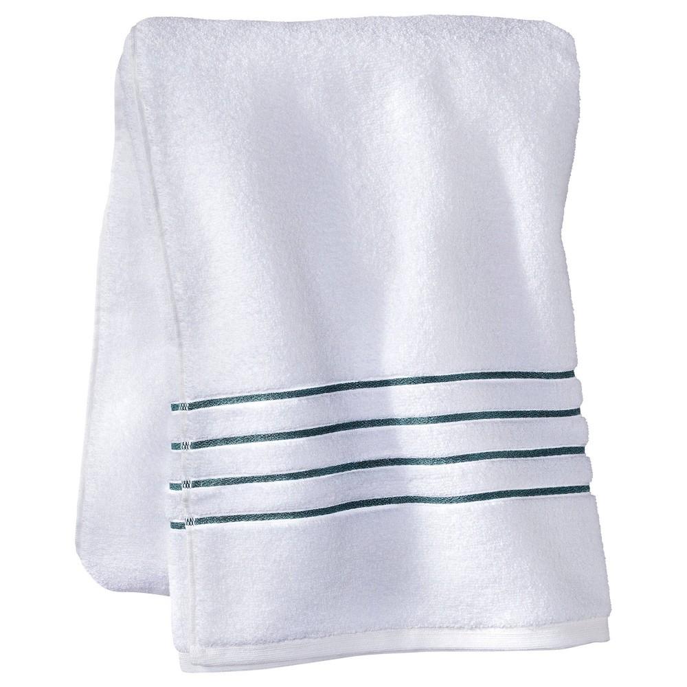 Bath Sheet White Aqua Stripe Fieldcrest 8482
