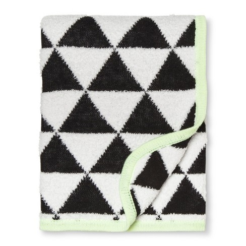Sweater Knit Baby Blanket Triangles - Cloud Island™ Black/White - image 1 of 2