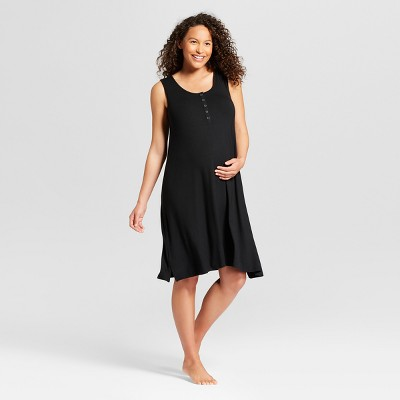 Maternity Short Sleeve Nursing Henley Nightgown - Isabel Maternity by Ingrid & Isabel™ Black L