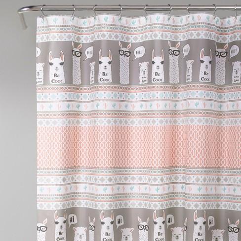 72x72 Llama Stripe Shower Curtain Pink