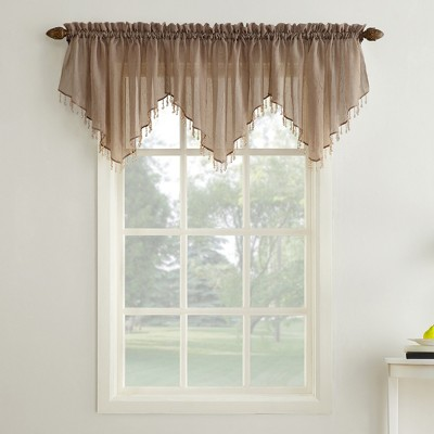 Erica Crushed Sheer Voile Beaded Ascot Curtain Valance Taupe 51 x24  - No. 918