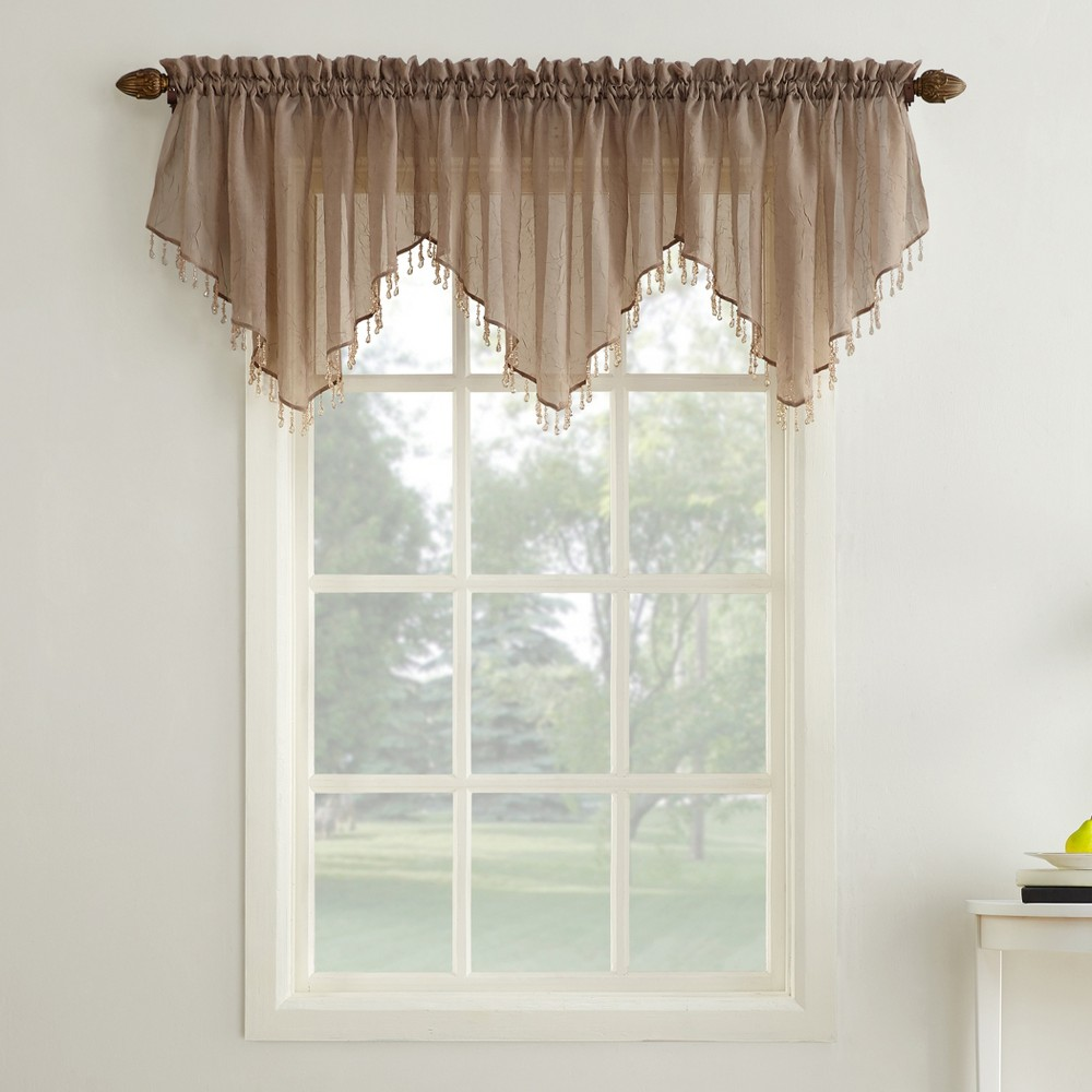 Erica Crushed Sheer Voile Beaded Ascot Curtain Valance Ta...