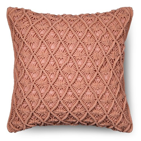 Macrame Throw Pillow Coral - Threshold™ - image 1 of 1