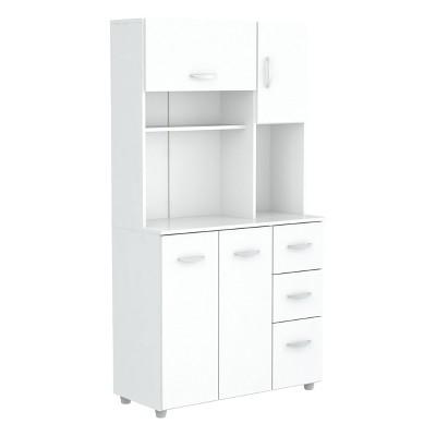 Kitchen Microwave Storage Cabinet White - Inval