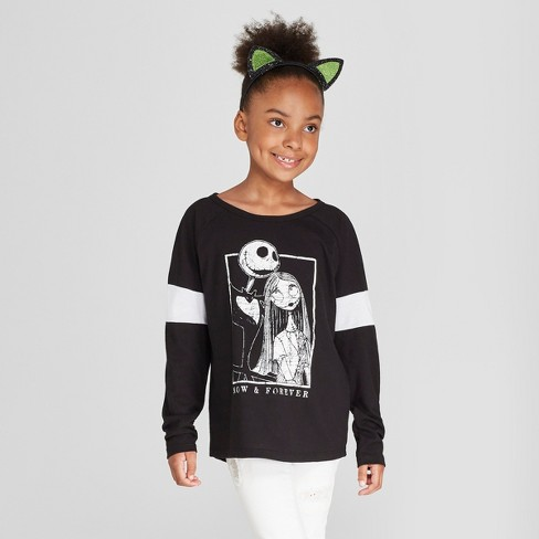29fbbe10efba Girls  Nightmare Before Christmas Graphic Long Sleeve T-Shirt ...