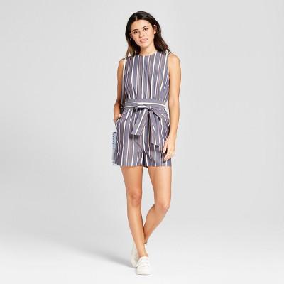 c5e8b07e9be2 Women s Striped Poplin Tie Waist Romper - Mossimo™ Blue S   Target