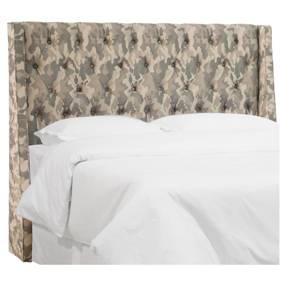 Queen Archer Tufted Wingback Headboard Guardian Mineral - Skyline Furniture