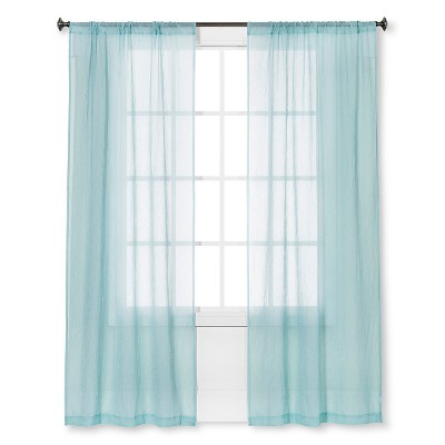 Crinkle Sheer Curtain Panel Aqua - Room Essentials™