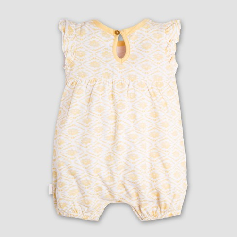 c7c102f2427c Burt s Bees Baby Girls  Organic Cotton Watercolor Southwest Bubble Romper -  Yellow