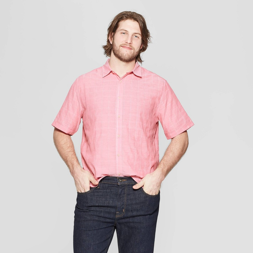 Men's Tall Striped Short Sleeve Novelty Button-Down Shirt - Goodfellow & Co Washed Red MT was $22.99 now $12.0 (48.0% off)
