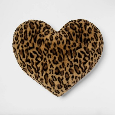 Oversized Heart Leopard Faux Fur Pillow Neutral/Black - Room Essentials™