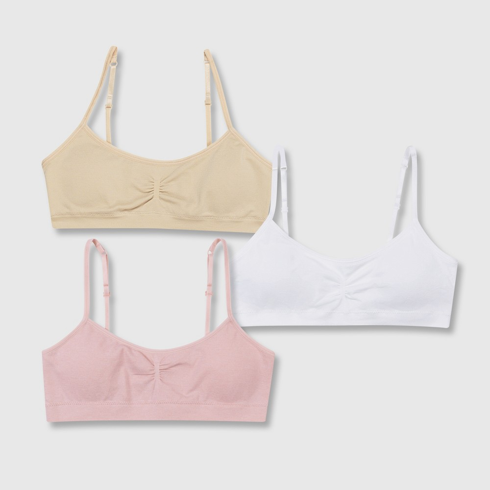 Hanes Girls' 2+1 Bonus Pack Seamless Molded Wireless Bra - Beige/White/Pink M
