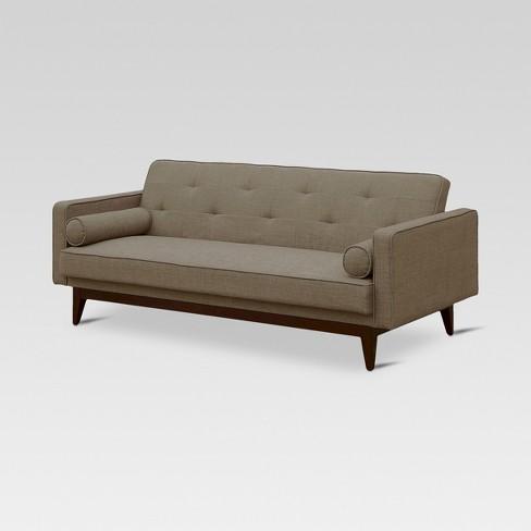 Madison Tufted Back Convertible Sofa Heathered Taupe Threshold