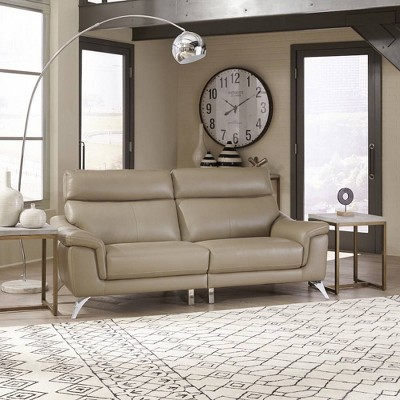 Moderno Leather Contemporary Upholstered Sofa Beige - Home Styles