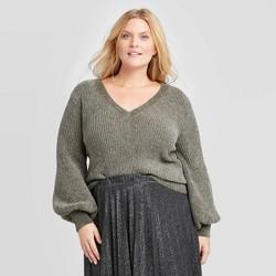 Women's Plus Size V-Neck Chenille Pullover Sweater - Ava & Viv™