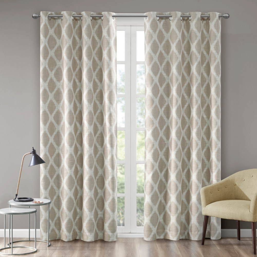 Etro Printed Ikat Blackout Curtain Panel Taupe (Brown) 50