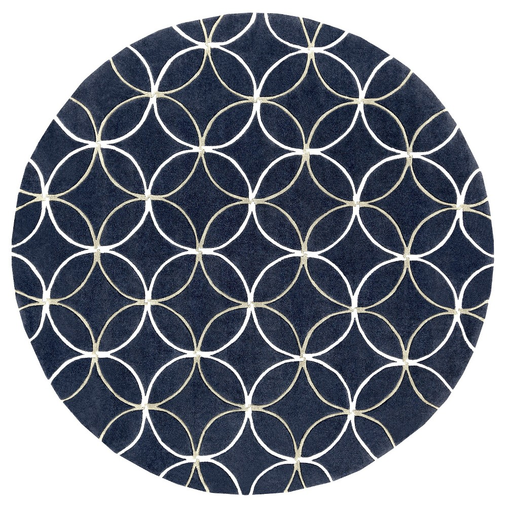 Ebetsu Area Rug - Navy (Blue), White - (8' Round) - Surya