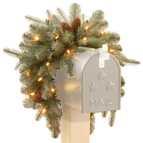 "36"" Frosted Arctic Spruce Mailbox Swag with Battery Operated Warm White LED Lights - National Tree Company - image 1 of 2"