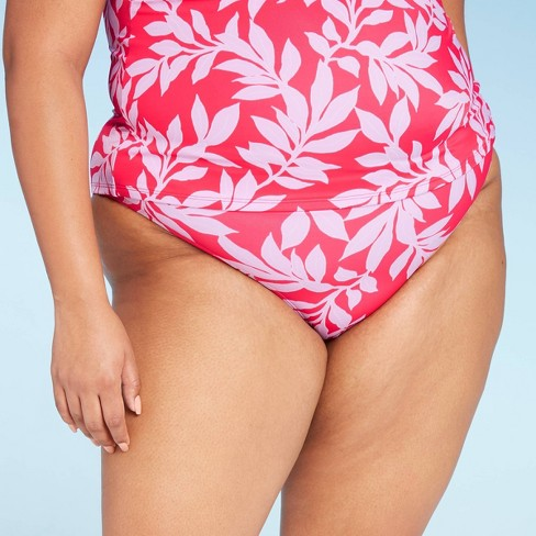 Women's Plus Size Medium Coverage Bikini Bottom - All in Motion™ Red Floral 14W - image 1 of 3