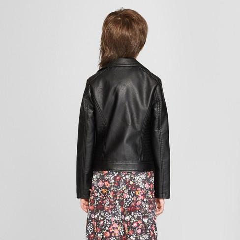f54b7996b670 Girls  Moto Jacket - Art Class™ Black   Target