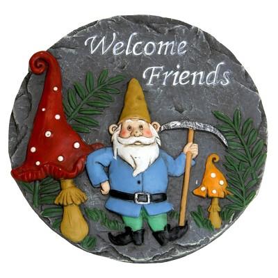 Welcome Friends Garden Gnome Stone - Exhart