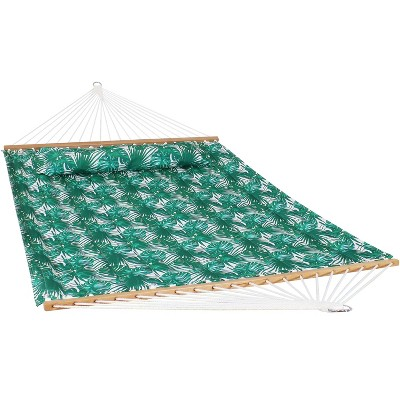 2-Person Quilted Printed Fabric Spreader Bar Hammock and Pillow - Green Palm Leaves - Sunnydaze Decor