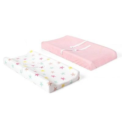 Lush Décor Unicorn Heart Rainbow Star Organic Cotton Changing Pad Cover - 2pk