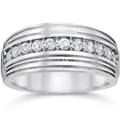 Pompeii3 1/2 Carat Mens Diamond Wedding Ring 10K White Gold