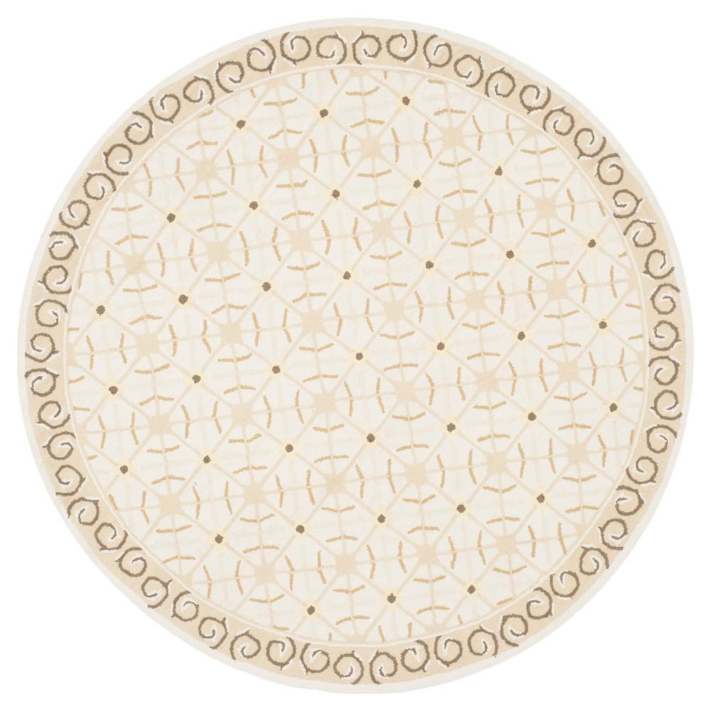 Taupe/Beige (Brown/Beige) Abstract Hooked Round Area Rug - (6' Round) - Safavieh