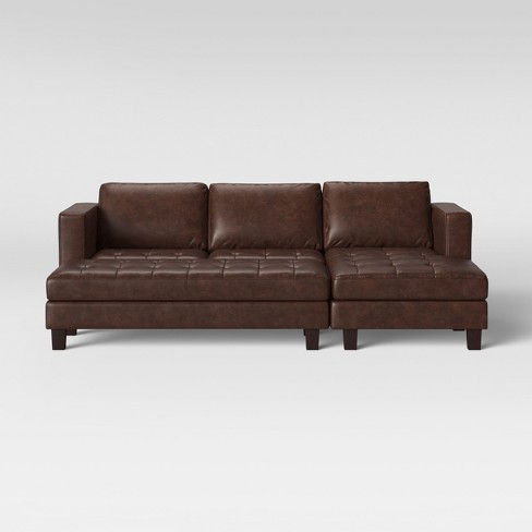 Edgemere Sectional Sofa And Large Ottoman Faux Leather Brown ...