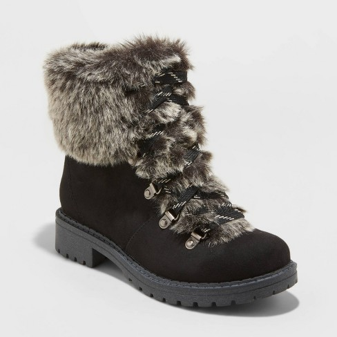 Women's Lilliana Microsuede Faux Fur Lace-Up Boots - Universal Thread™ - image 1 of 3